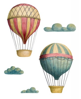 Affisch Set of steampunk elements - air balloons and clouds. Hand drawn colored pencils illustration.