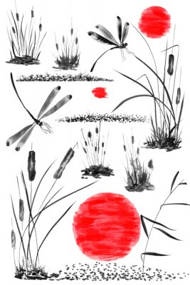 Affisch Set of sun,   bulrush, grass and dragonflies.  Watercolor and ink illustration in style sumi-e, u-sin, go-hua. Oriental traditional painting. Isolated .