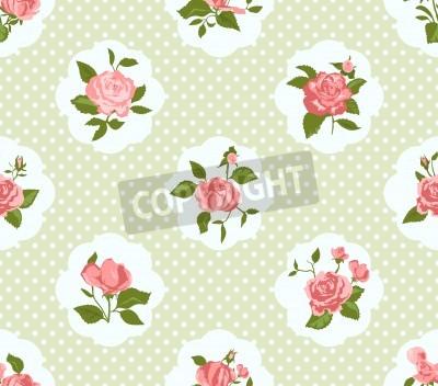Affisch Shabby Chic Rose Mönster och sömlös bakgrund. Idealisk för tryck på tyg och papper eller skrot bokning. Stuga chic stil.