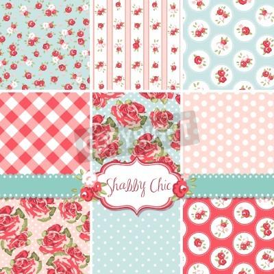 Affisch Shabby Chic Rose Mönster och sömlösa bakgrunder. Idealisk för tryck på tyg och papper eller skrot bokning.