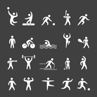 Affisch Silhuett siffror för idrottare populära sporter