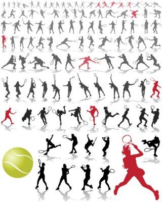 Affisch Silhuetter och skuggor av tennisspelare, vektor