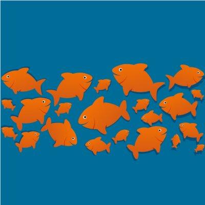 Affisch silhuetter poissons