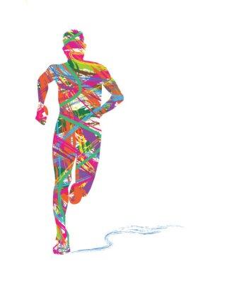 Affisch siluett astratta di uomo che corre