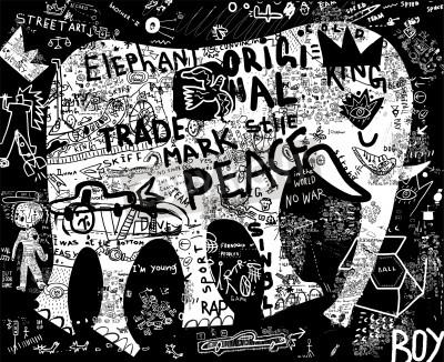 Affisch Siluett av en elefant, som innefattar ett flertal symboler