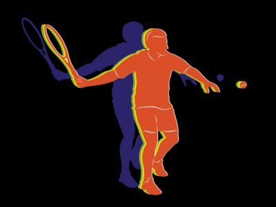 Affisch siluett tennisspelare, vektorritning