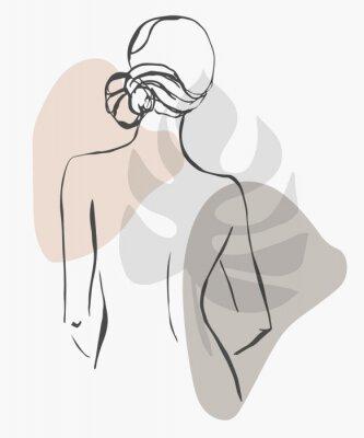 Affisch Simple hand drawn trendy line silhouette woman. Modern minimalism art, aesthetic contour. Abstract women's silhouette, minimalist style. Scandinavian print