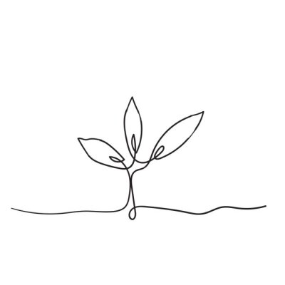 Affisch Single continuous line art growing sprout handdrawn doodle style
