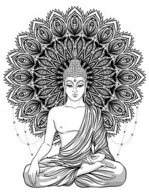 Affisch Sitter Buddha över utsmyckad roseblomma. Esoterisk vintage vektor illustration. Indisk, buddhism, andlig konst. Hippie tatuering, andlighet, thailändsk gud, yoga zen