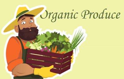 Affisch Skäggig bonde eller trädgårdsmästare i en hatt som håller en trälåda fylld med färska grönsaker och frukter, kopiera utrymme till höger, EPS 8 vektor illustration, inga OH