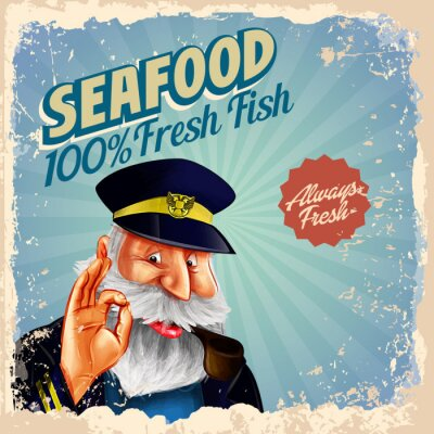 Affisch skaldjur färsk fisk kapten