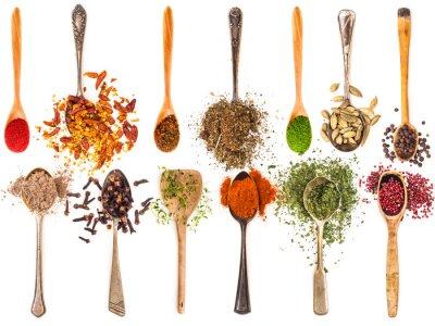 Affisch skedar med kryddor