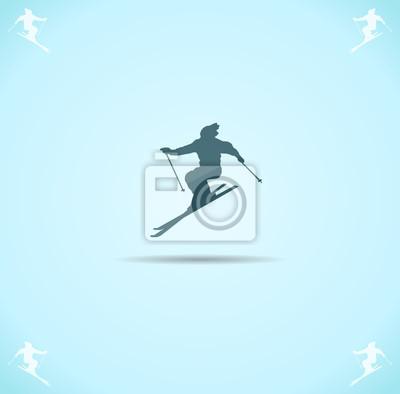 Affisch skifahrer