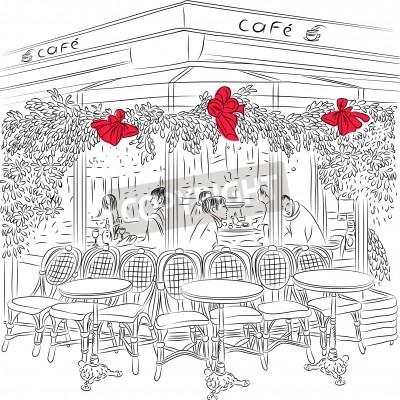 Affisch skiss av den parisiska Café med juldekorationer