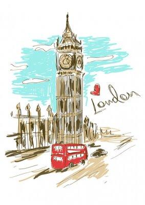 Affisch Skiss illustration av Big Ben torn