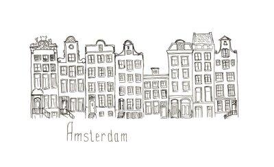 Affisch Skiss Nederländerna Amsterdam hus isolerade bokstäver