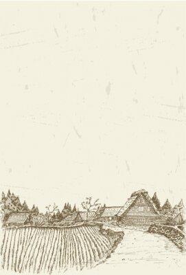 Affisch Skiss över världsarv byn Shirakawa-go i Japan