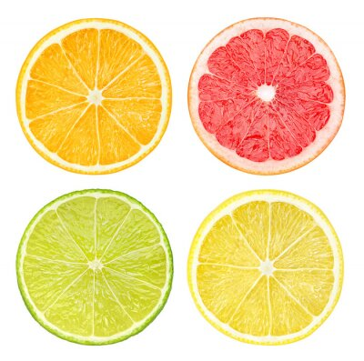Affisch Skivor av citrusfrukter isolerade på vitt