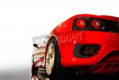 Affisch skott av en röd sportbil (Ferrari)