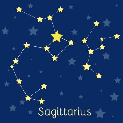 Affisch Skytten Fire Zodiac konstellation med stjärnor i kosmos. vektorbild