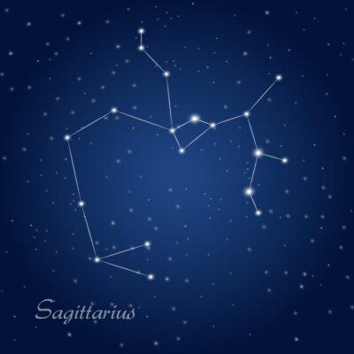 Affisch Skytten konstellation stjärntecken på stjärnklara natthimlen