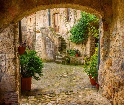 Affisch Smal gata av medeltida tuff stad Sorano med valv, gröna växter och kullersten, reser Italien bakgrund