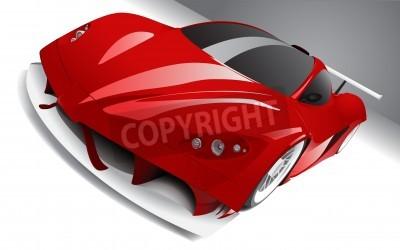 Affisch snabb racing röd bil, lager, helt redigerbara