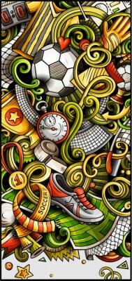 Affisch Soccer hand drawn doodle banner. Cartoon detailed illustrations.