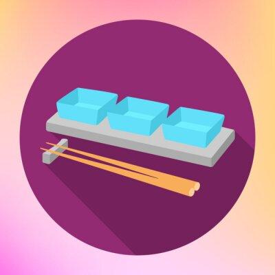 Affisch sojasås sås båt och pinnar med en platt vektor tecken. Såskopp Plate med Chopstick för Serving japansk mat.
