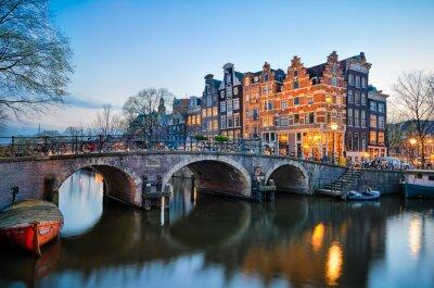 Affisch Solnedgång i Amsterdam, Nederländerna