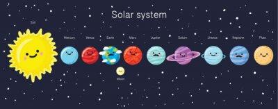 Affisch Solsystemet med söta leende planeter, solen och månen.