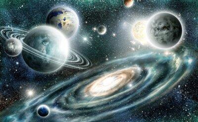 Affisch Solsystemet och spiralgalax