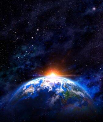 Affisch soluppgång över jorden i yttre rymden