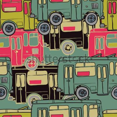 Affisch Sömlös textilmönster av färgade bussar