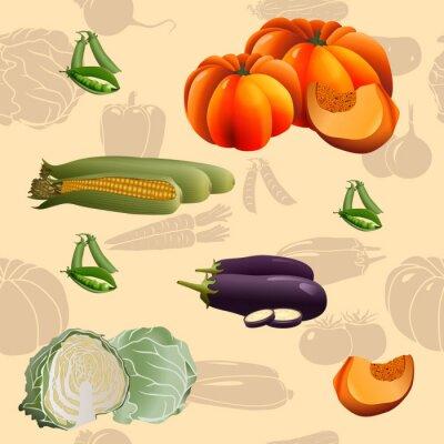 Affisch sömlösa mönster grönsaker: majs, pumpa