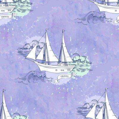 Affisch Sömlösa Patt vågor fartyg