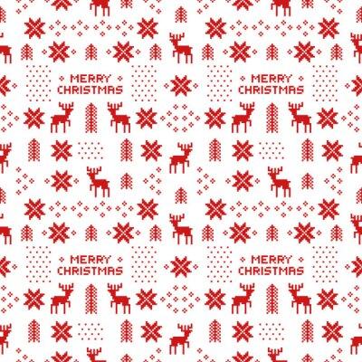 Affisch sömlösa retro röd jul mönster med rådjur, träd och snöflingor