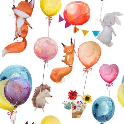 Affisch Sömlöst mönster med djur med ballonger