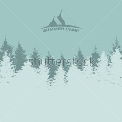 Affisch Sommar läger. Bild av naturen. Träd Silhuett. Illustration