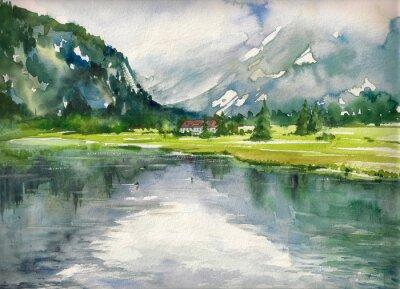 Affisch Sommar landskap med fjällsjö målade med vattenfärger
