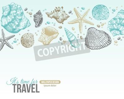 Affisch Sommar Sea Shells vykort Design. Vector Bakgrund med snäckskal, Sea Star och Sand. Handritad etsning stil. Plats för din text.