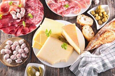 Affisch sortiment av ost, kött