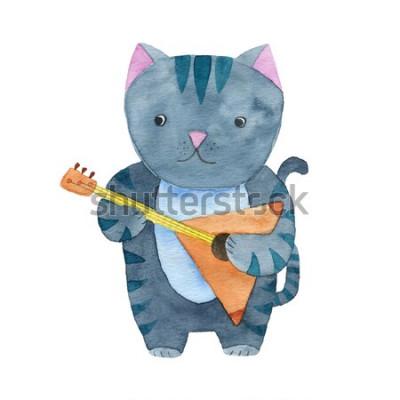 Affisch Söt akvarellkatt som spelar balalaika eller gitarr