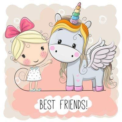 Affisch Söt Cartoon Girl och Unicorn