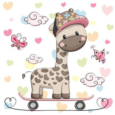Affisch Söt giraff med skateboard