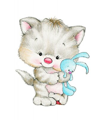 Affisch Söt kattunge med bebiskanin