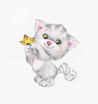 Affisch Söt kattunge med fjäril