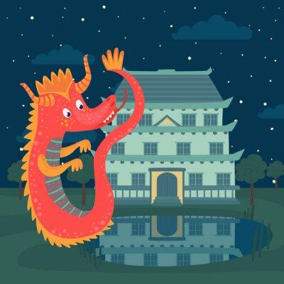 Affisch Söt röd drake bredvid ett slott på natten, saga berättelse för barn vektor illustration