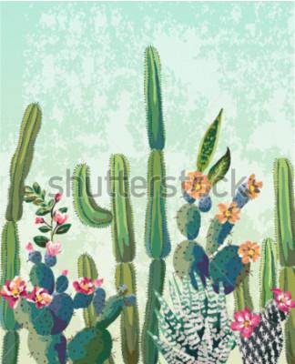 Affisch Söt suckulenter kaktus vektor mönster
