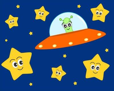 Affisch söt ufo främmande tecknad i utrymmet med söta vackra stjärnor vektorillustration för barn